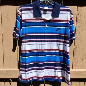 Vintage Nike Red, White & Blue Striped Polo